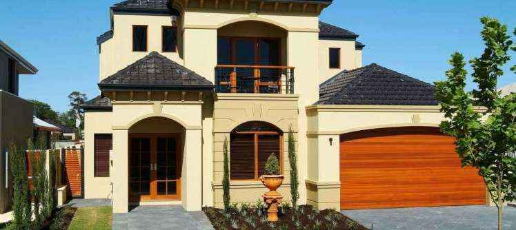 Closer image of front of house illustrating Aerostone products.